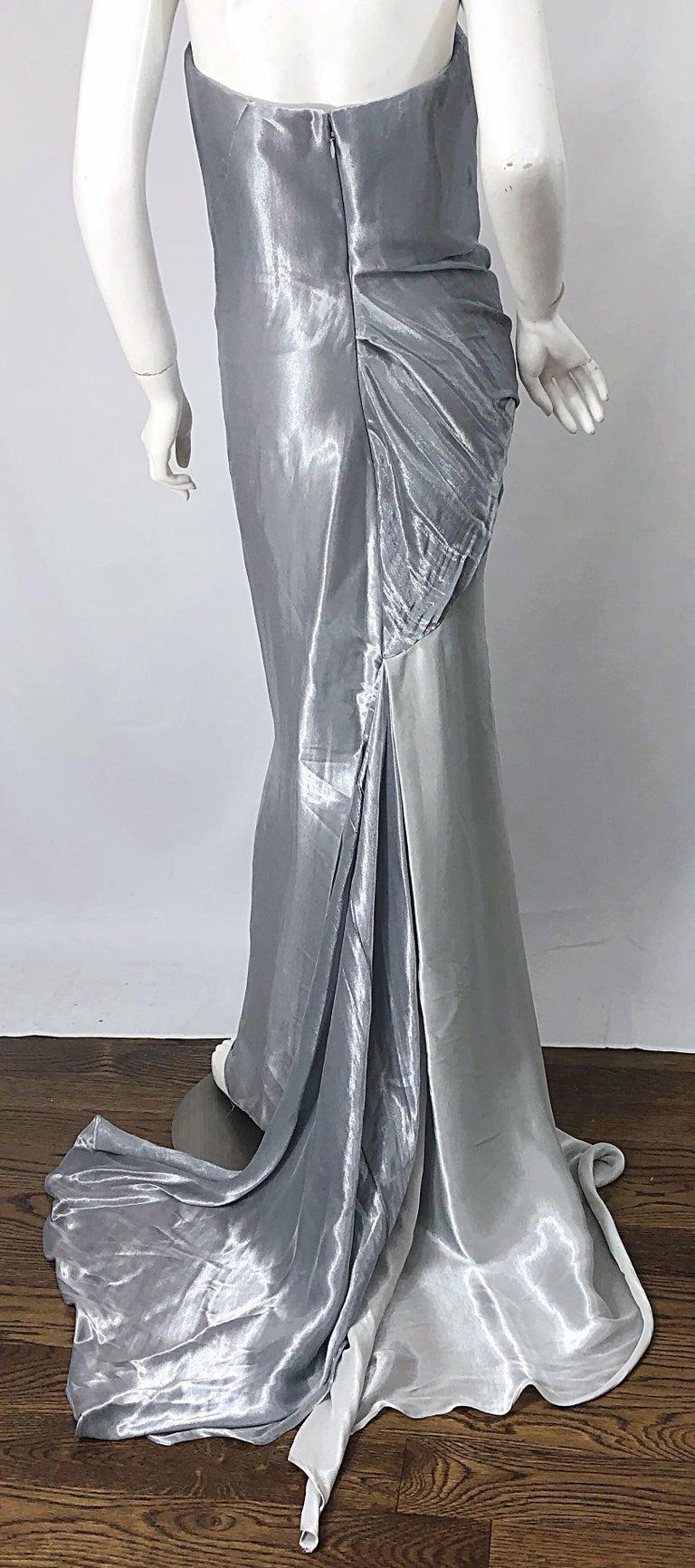 Donna Karan 1990s Size 4 Silver Grecian Metallic Strapless Vintage Silk 90s Gown For Sale 7