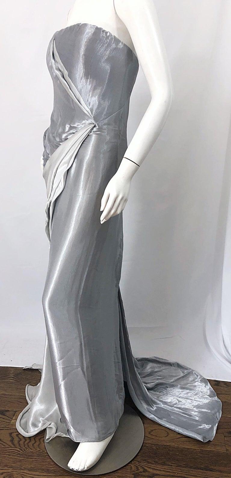 Donna Karan 1990s Size 4 Silver Grecian Metallic Strapless Vintage Silk 90s Gown For Sale 8