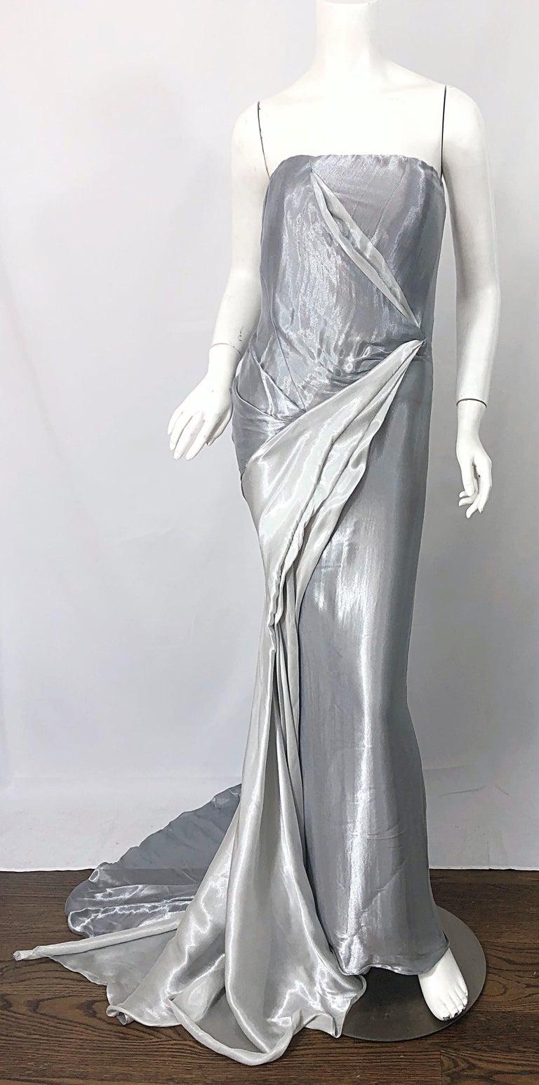 Donna Karan 1990s Size 4 Silver Grecian Metallic Strapless Vintage Silk 90s Gown For Sale 9