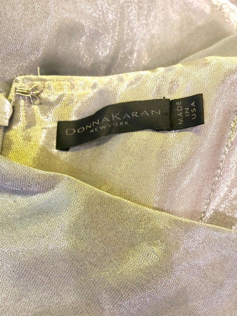 Donna Karan 1990s Size 4 Silver Grecian Metallic Strapless Vintage Silk 90s Gown For Sale 10