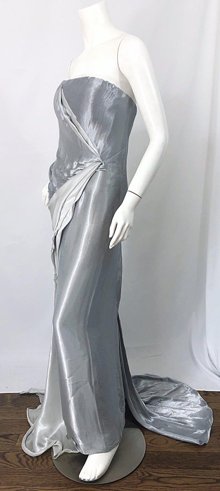 Women's Donna Karan 1990s Size 4 Silver Grecian Metallic Strapless Vintage Silk 90s Gown For Sale