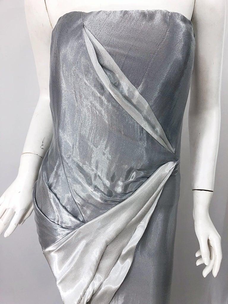 Donna Karan 1990s Size 4 Silver Grecian Metallic Strapless Vintage Silk 90s Gown For Sale 1