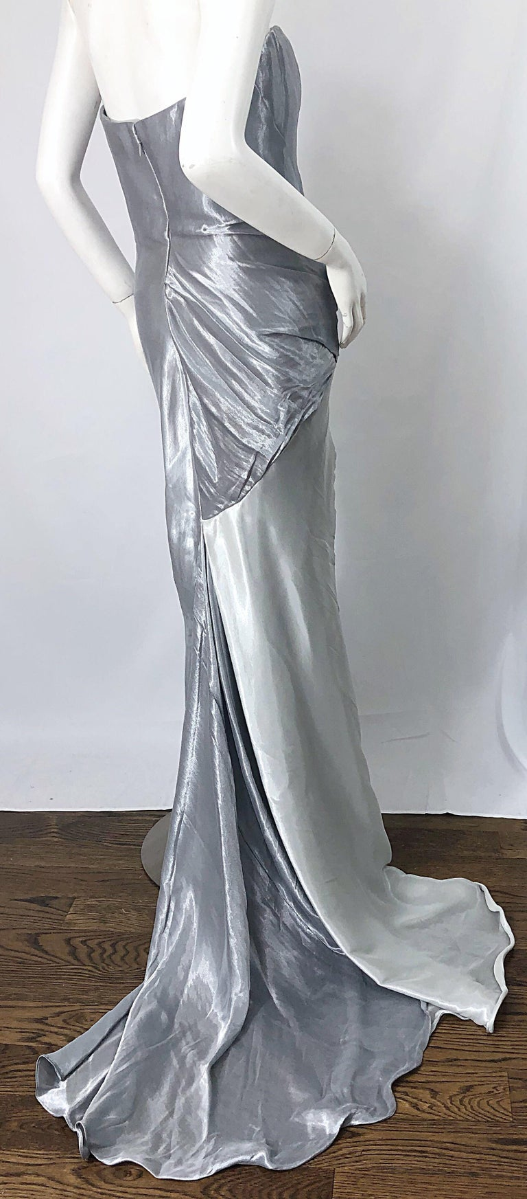 Donna Karan 1990s Size 4 Silver Grecian Metallic Strapless Vintage Silk 90s Gown For Sale 2