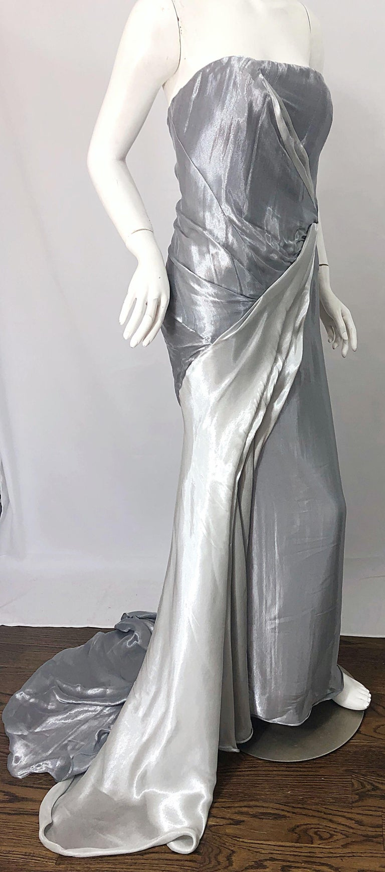 Donna Karan 1990s Size 4 Silver Grecian Metallic Strapless Vintage Silk 90s Gown For Sale 3