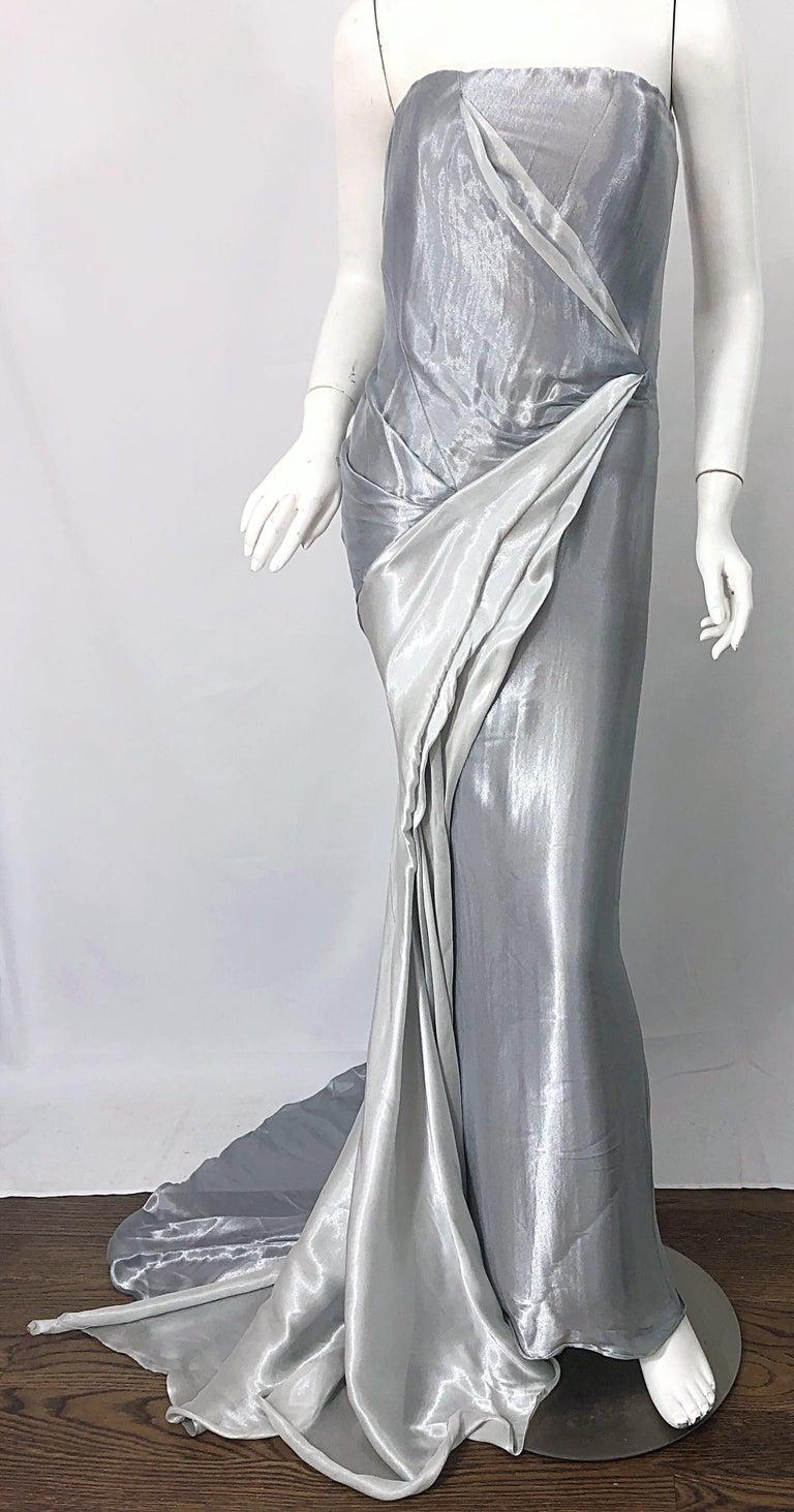 Donna Karan 1990s Size 4 Silver Grecian Metallic Strapless Vintage Silk 90s Gown For Sale 4