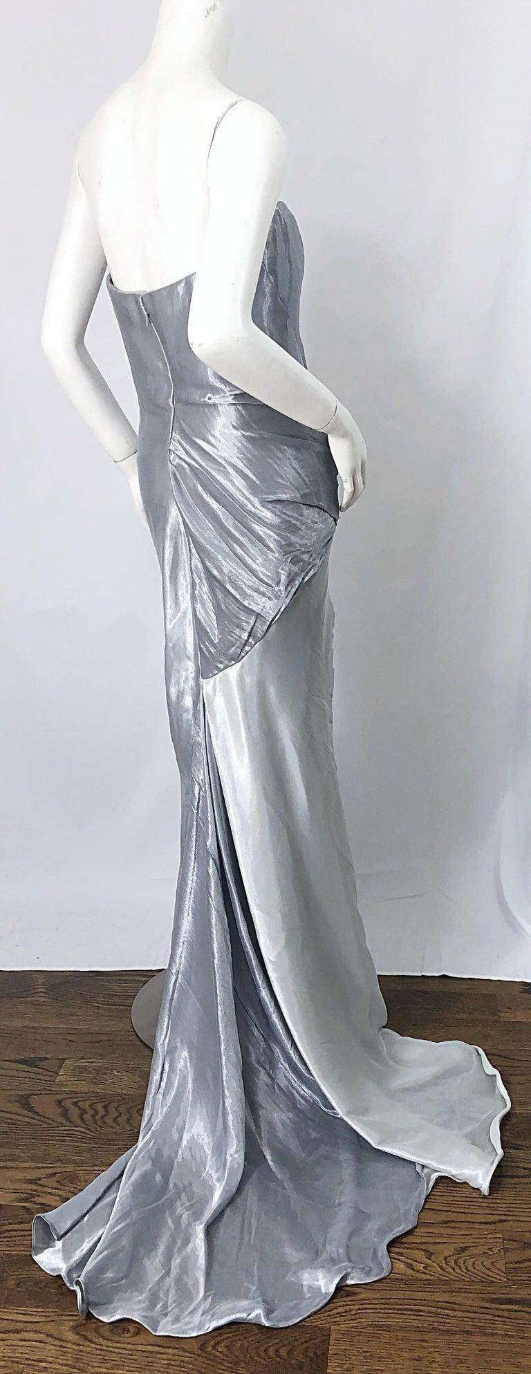 Donna Karan 1990s Size 4 Silver Grecian Metallic Strapless Vintage Silk 90s Gown For Sale 5