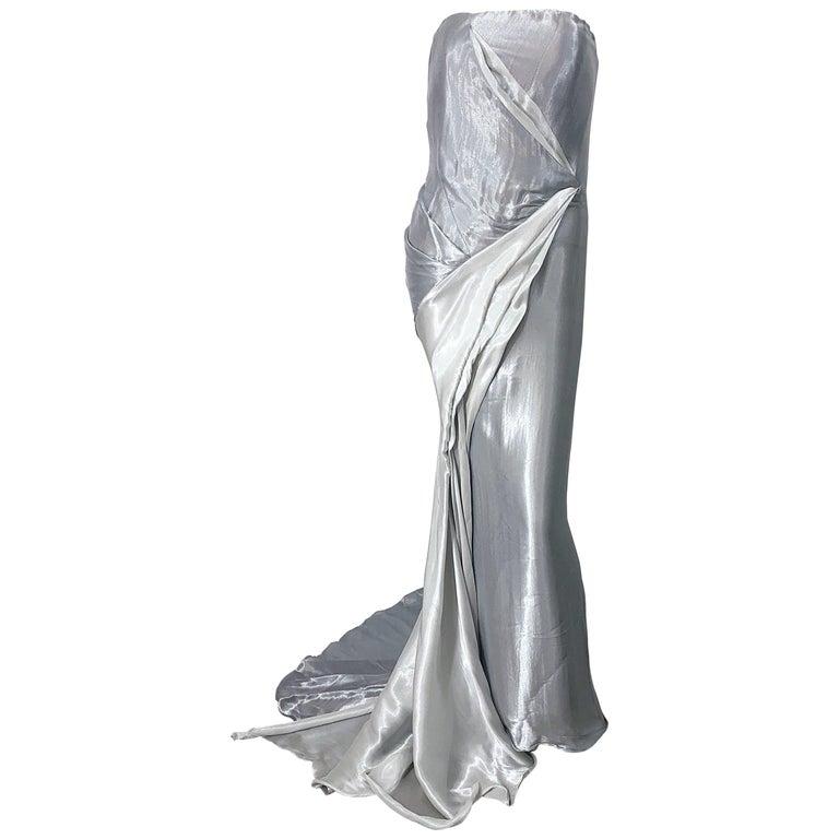 Donna Karan 1990s Size 4 Silver Grecian Metallic Strapless Vintage Silk 90s Gown For Sale