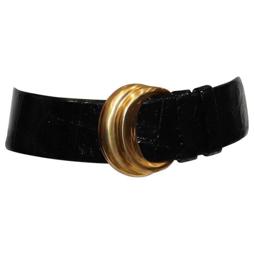 Donna Karan Alligator Belt W/ Gold Buckle Size Small