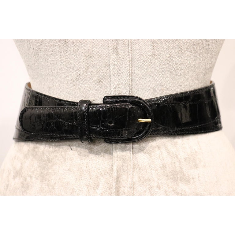 Women's Donna Karan Black Alligator Belt Size Medium For Sale
