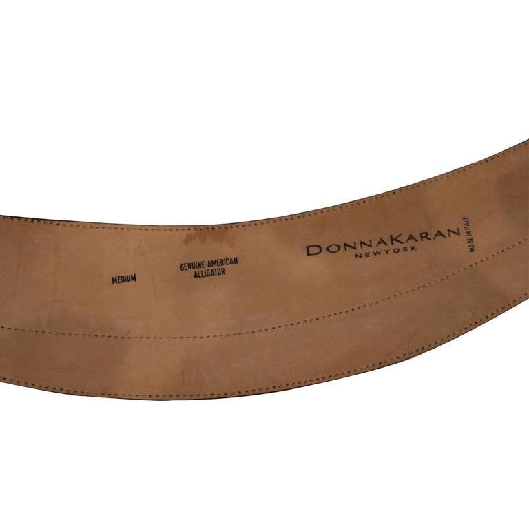 Donna Karan Black Alligator Belt Size Medium For Sale 1