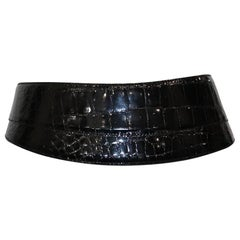 Donna Karan Black Alligator Belt Size Medium