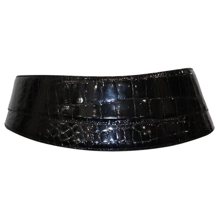 Donna Karan Black Alligator Belt Size Medium For Sale