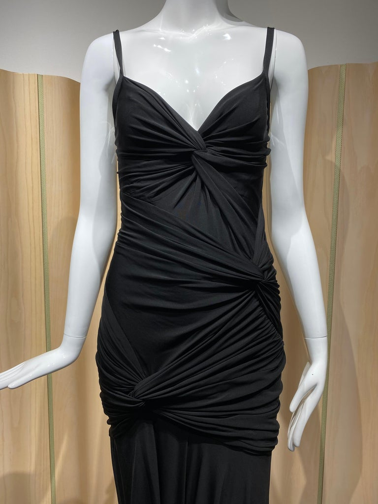 Sexy Donna Karan Black Label Jersey spaghetti straps form fitting cocktail dress. Fit size 2/4