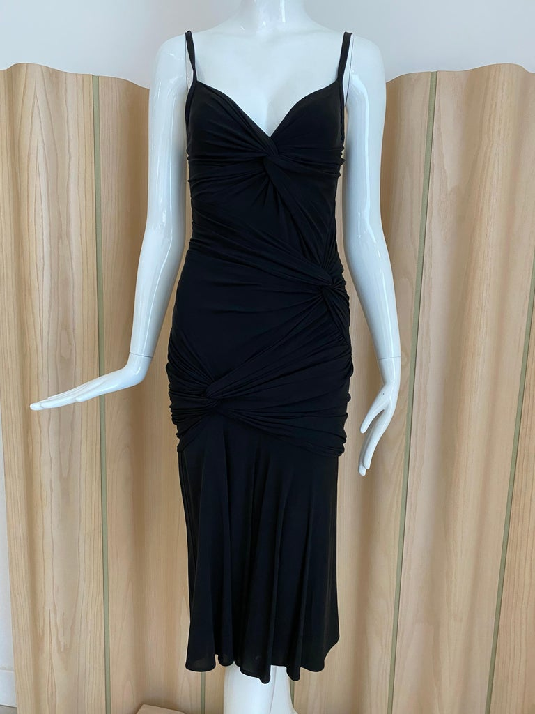 Donna Karan Black Jersey Cocktail Dress For Sale 2
