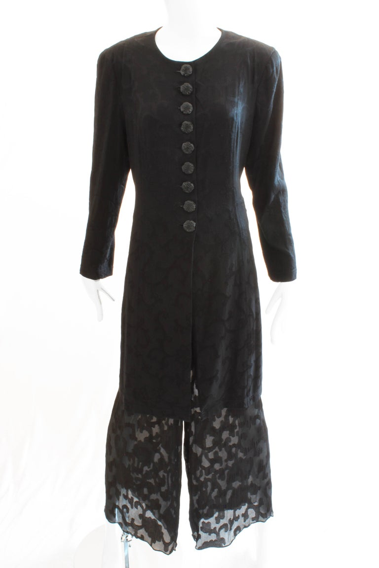 Donna Karan Black Label Silk Brocade Jacket and Sheer Pants Set, 1990s In Good Condition For Sale In Port Saint Lucie, FL