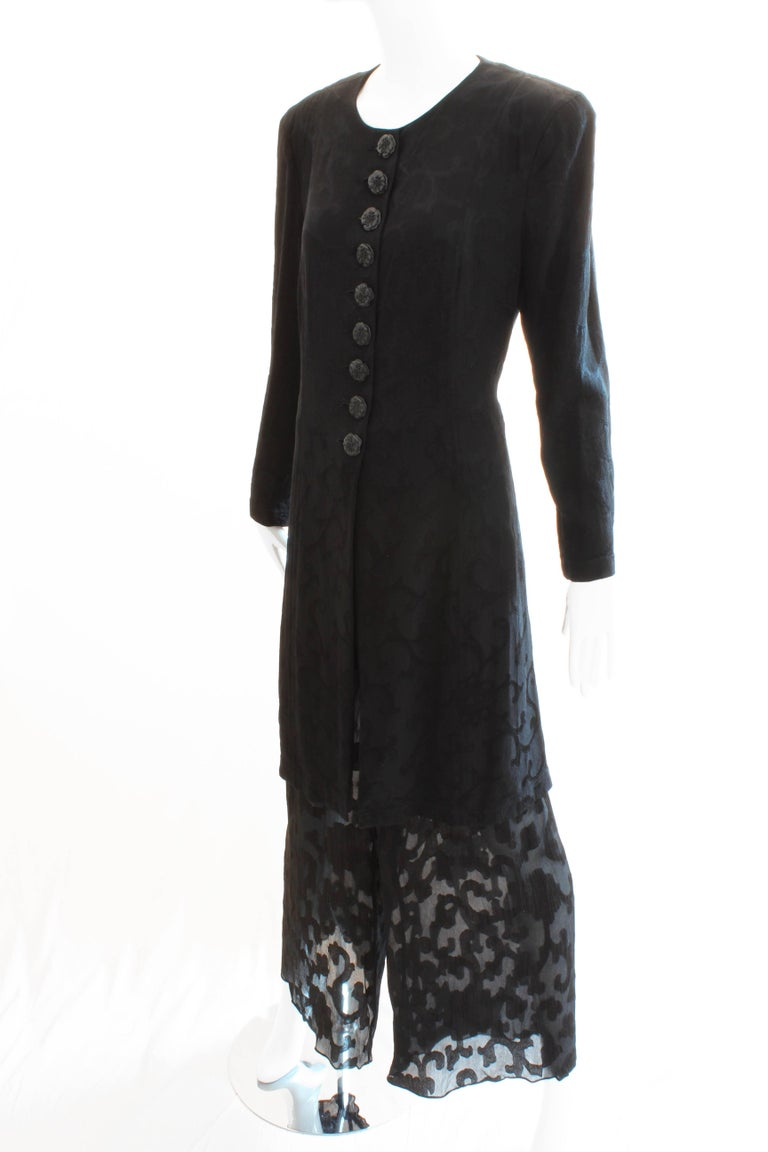 Women's Donna Karan Black Label Silk Brocade Jacket and Sheer Pants Set, 1990s For Sale