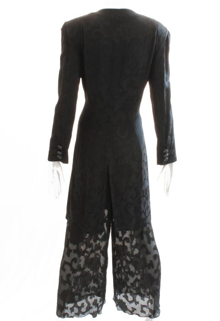 Donna Karan Black Label Silk Brocade Jacket and Sheer Pants Set, 1990s For Sale 1