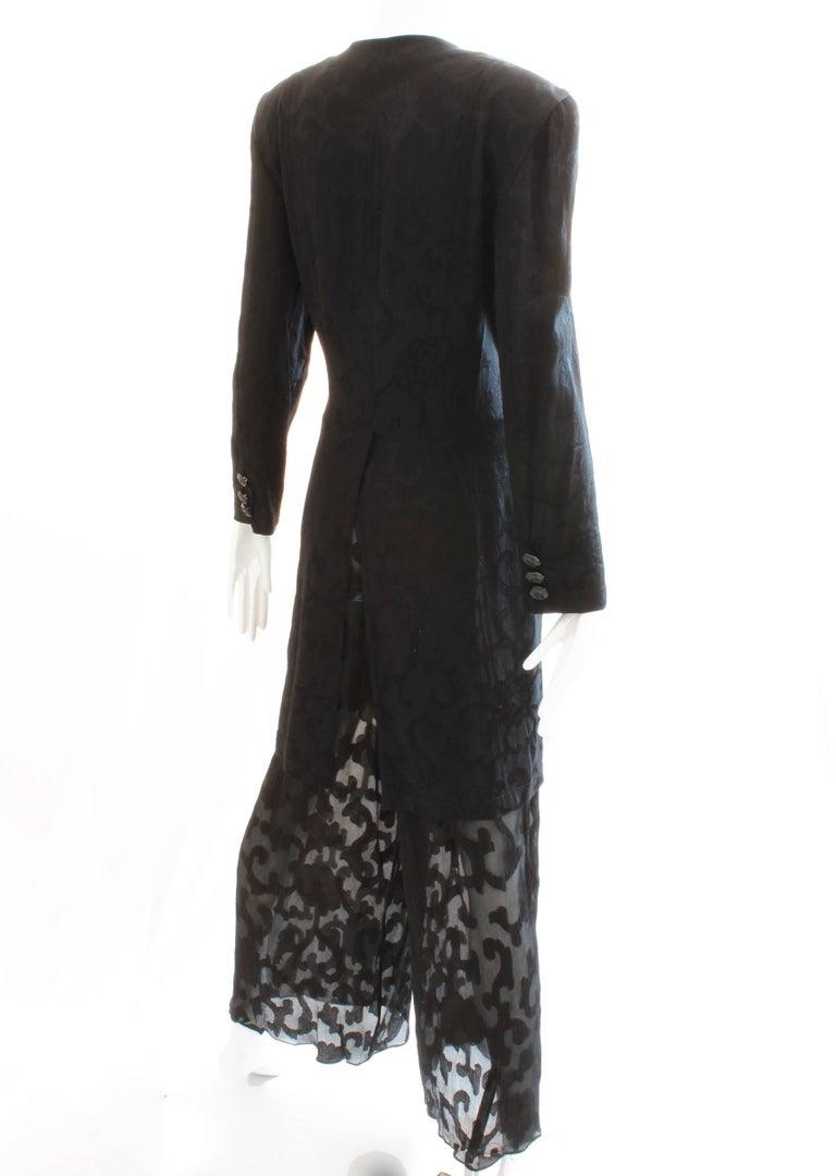 Donna Karan Black Label Silk Brocade Jacket and Sheer Pants Set, 1990s For Sale 2