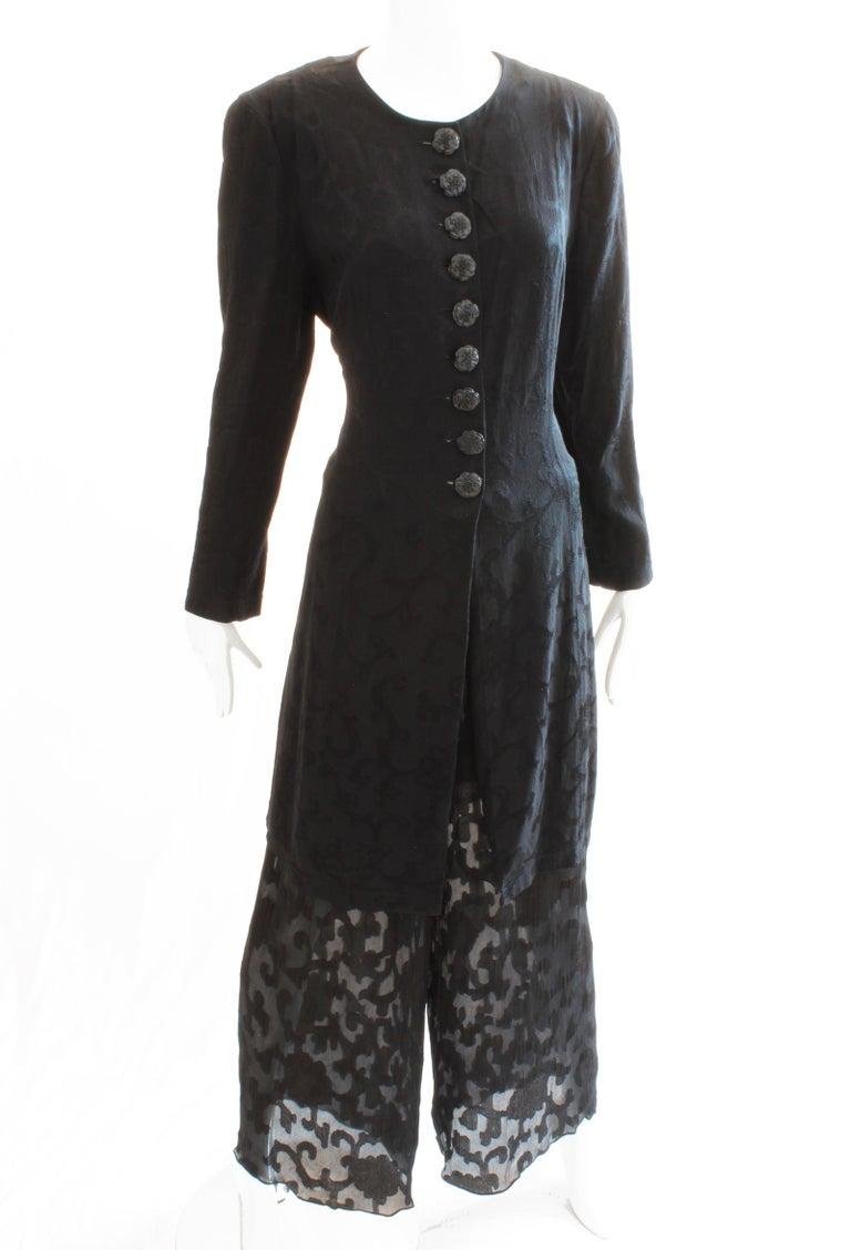 Donna Karan Black Label Silk Brocade Jacket and Sheer Pants Set, 1990s For Sale 3