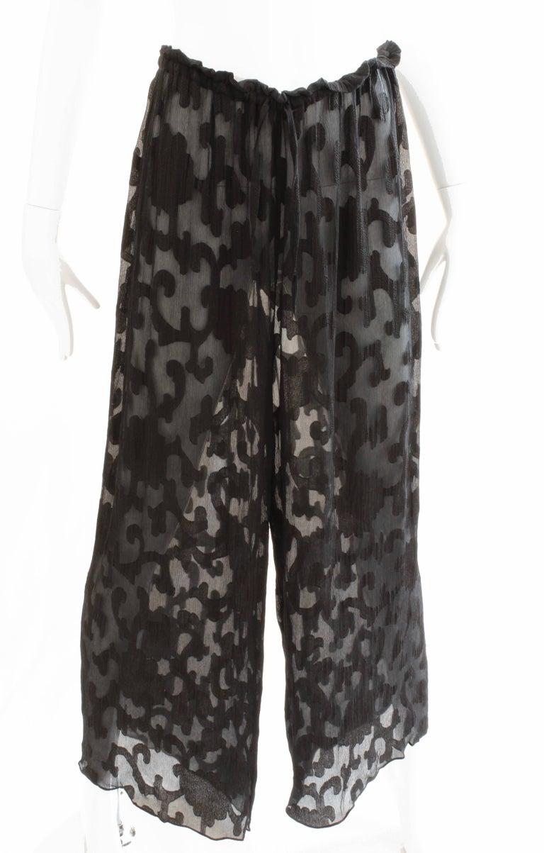 Donna Karan Black Label Silk Brocade Jacket and Sheer Pants Set, 1990s For Sale 4