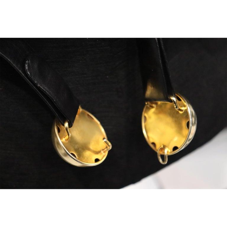 Donna Karan Black Leather Belt W/ 2 Large Gold Balls Closure  For Sale 1