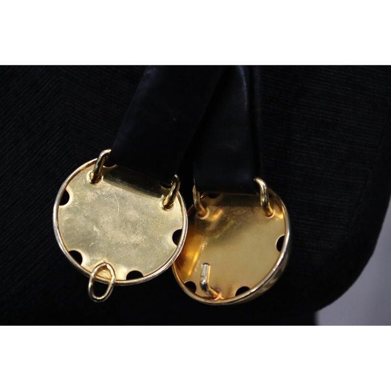 Donna Karan Black Leather Belt W/ 2 Large Gold Balls Closure  For Sale 2