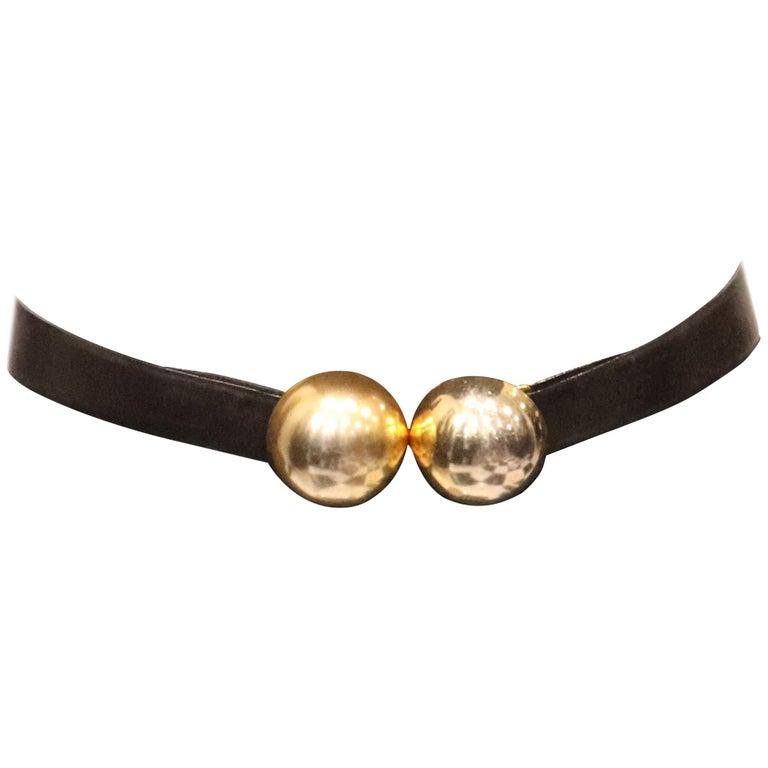 Donna Karan Black Leather Belt W/ 2 Large Gold Balls Closure  For Sale