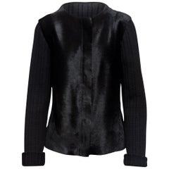 Donna Karan Black Ponyhair & Rib Knit Jacket