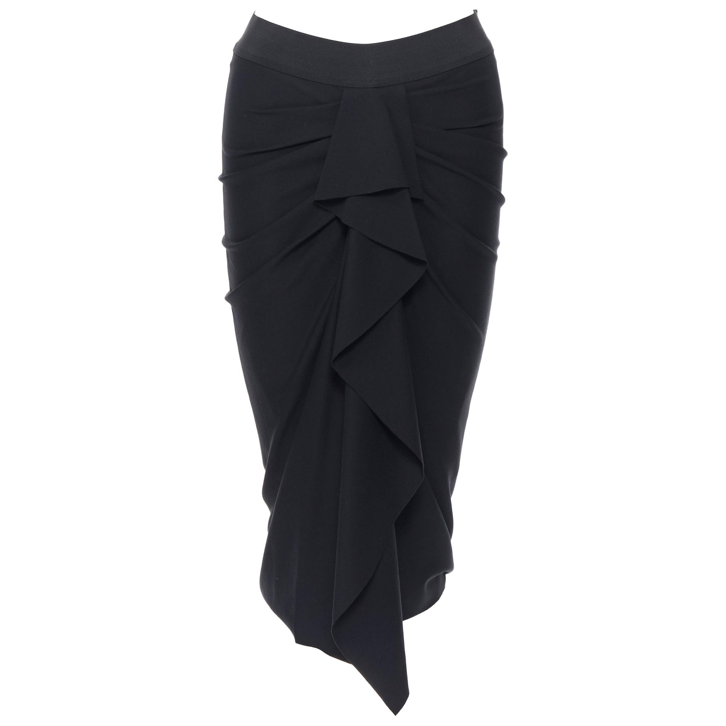 "DONNA KARAN black viscose blend elastic waist ruched ruffle skirt US6 26"""