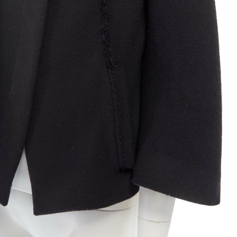 DONNA KARAN black wool blend frayed seam concealed button wide neckline jacket S For Sale 5