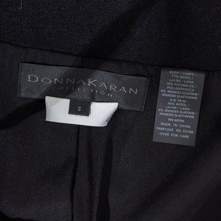 DONNA KARAN black wool blend frayed seam concealed button wide neckline jacket S For Sale 6
