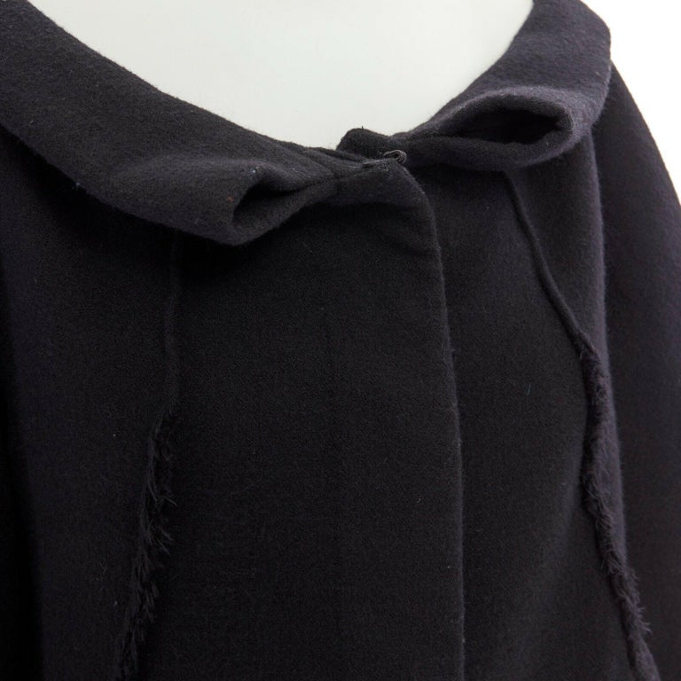 Black DONNA KARAN black wool blend frayed seam concealed button wide neckline jacket S For Sale