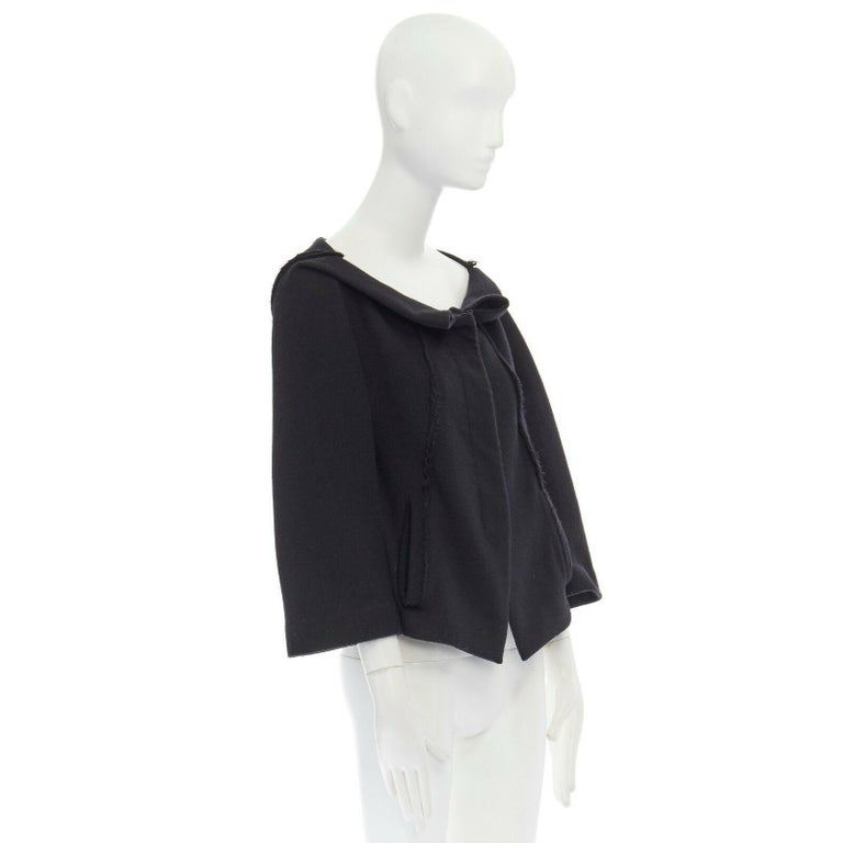 DONNA KARAN black wool blend frayed seam concealed button wide neckline jacket S In Excellent Condition For Sale In Hong Kong, NT