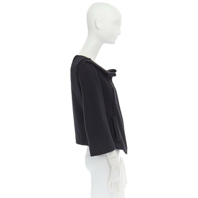 Women's DONNA KARAN black wool blend frayed seam concealed button wide neckline jacket S For Sale