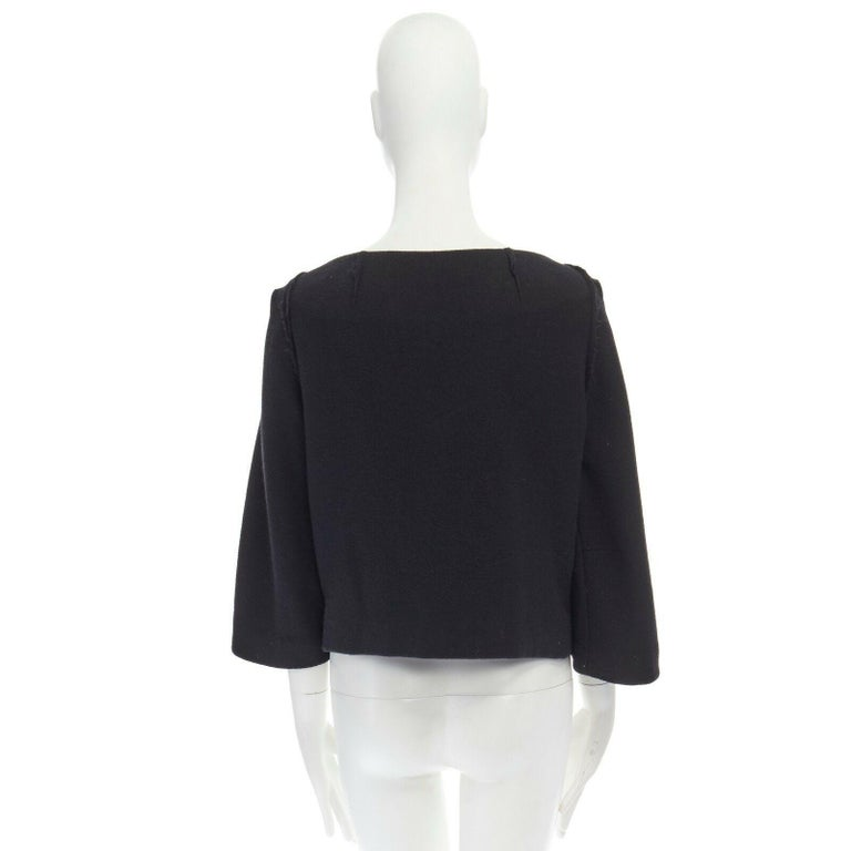 DONNA KARAN black wool blend frayed seam concealed button wide neckline jacket S For Sale 1