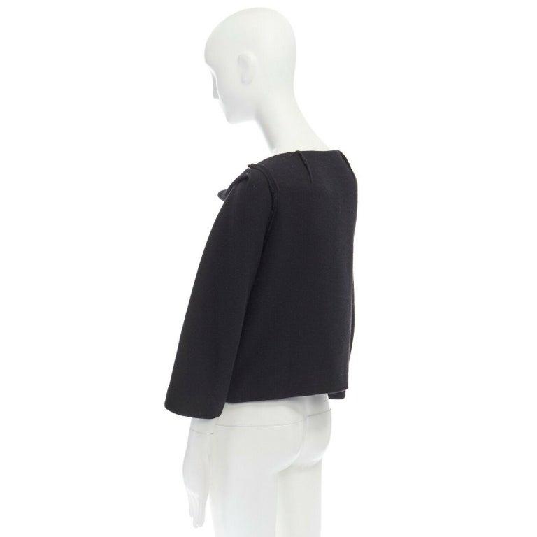 DONNA KARAN black wool blend frayed seam concealed button wide neckline jacket S For Sale 2