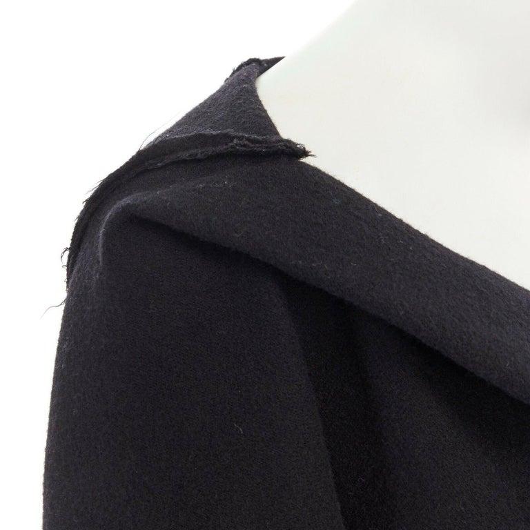 DONNA KARAN black wool blend frayed seam concealed button wide neckline jacket S For Sale 3