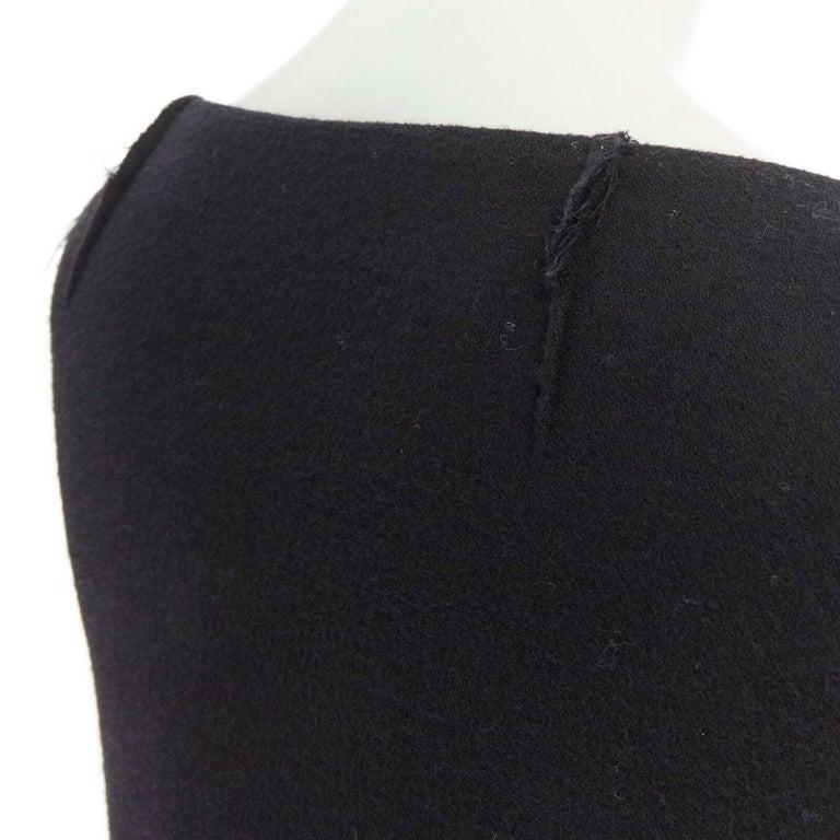 DONNA KARAN black wool blend frayed seam concealed button wide neckline jacket S For Sale 4