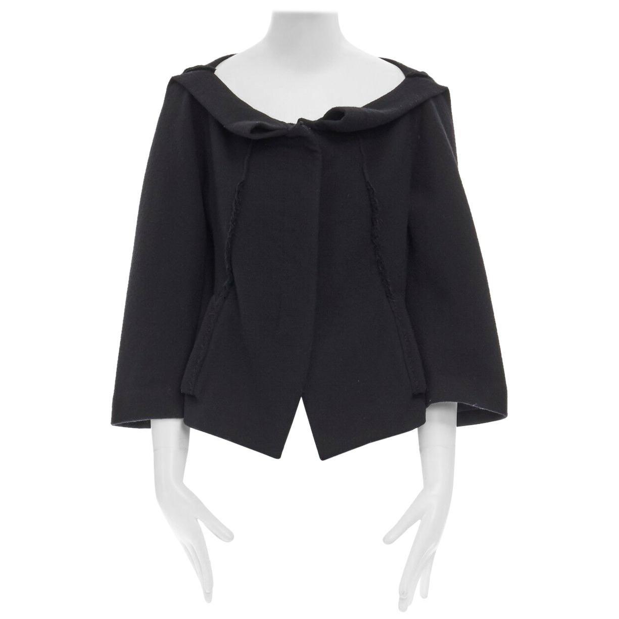 DONNA KARAN black wool blend frayed seam concealed button wide neckline jacket S