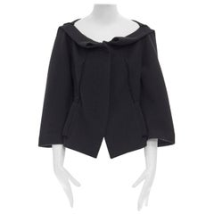 DONNA KARAN black wool blend frayed seam concealed button wide neckline jacket S