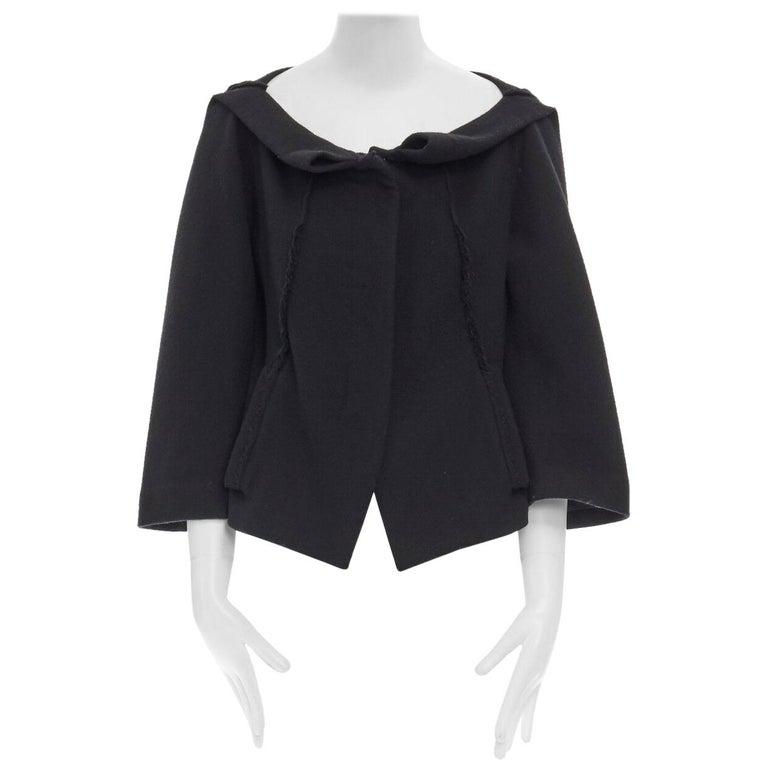 DONNA KARAN black wool blend frayed seam concealed button wide neckline jacket S For Sale