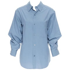 DONNA KARAN blue cotton oversized boxy nipped 3/4 sleeves casual shirt XS