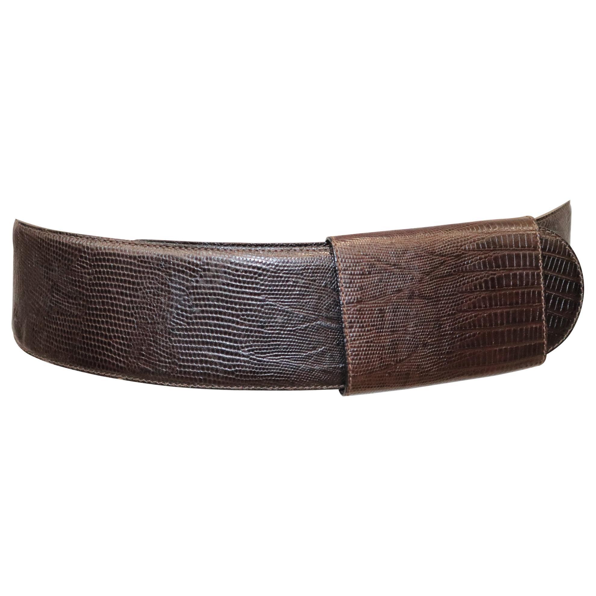 Donna Karan Brown Faux Lizard Leather Belt