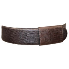Donna Karan Brown Faux Lizard Leather Belt