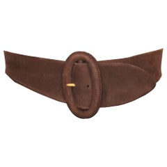 Donna Karan Brown Suede Leather Belt W/ Oval Buckle
