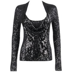 DONNA KARAN c. 1990's Black Sequin Silk Cashmere Cowl Neck Knit Sweater Top