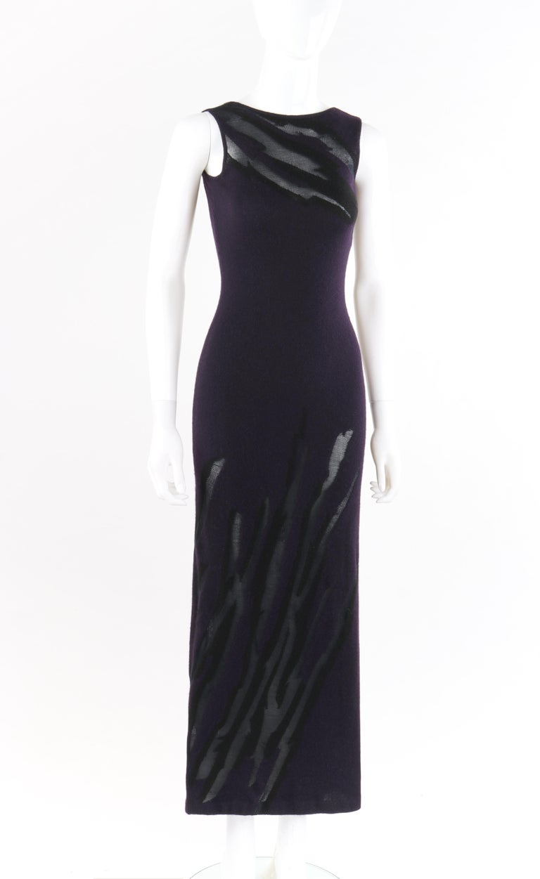 DONNA KARAN c.1990's Cashmere Silk Knit Dark Plum Purple Black Plunge Back Maxi Dress   Circa: 1990's Label(s): Donna Karan New York Designer: Donna Karan Style: Plunging back maxi dress Color(s): Shades of deep purple and black  Lined: No  Marked