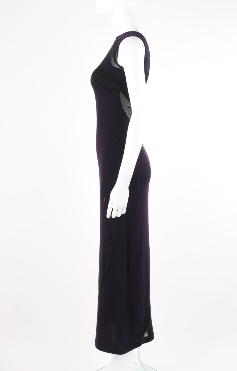 Women's DONNA KARAN c.1990's Cashmere Silk Knit Dark Purple Black Plunge Back Maxi Dress For Sale