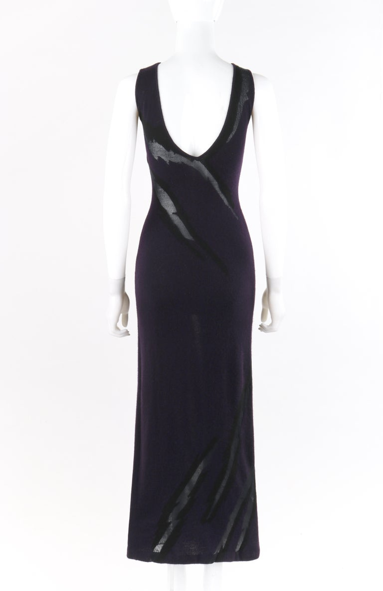 DONNA KARAN c.1990's Cashmere Silk Knit Dark Purple Black Plunge Back Maxi Dress For Sale 1