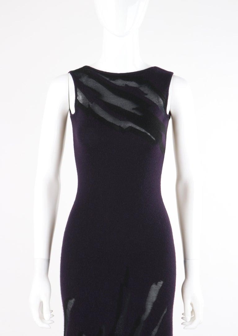 DONNA KARAN c.1990's Cashmere Silk Knit Dark Purple Black Plunge Back Maxi Dress For Sale 2
